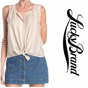 LUCKY BRAND Striped Tie Front High/Low Tank S. M